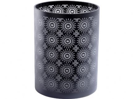 Black Circle Pattern Glass Cylinder Hurricane
