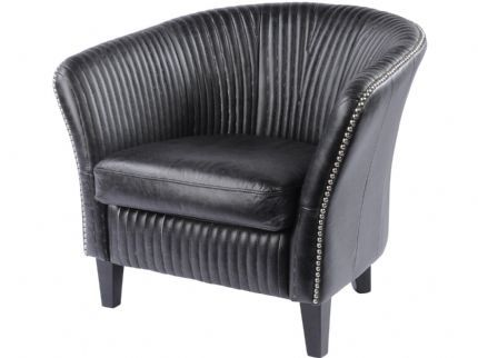 Gatsby Pleated Antique Black Leather Occasional Chair