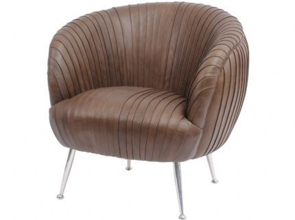 Gatsby Pleated Brown Leather Occasional Chair