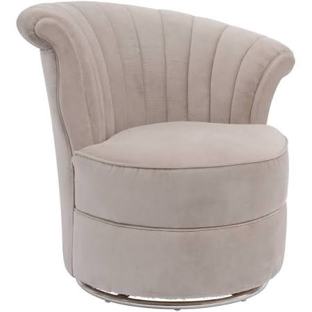 Halcyon Curved Taupe Velvet Occasional Swivel Chair