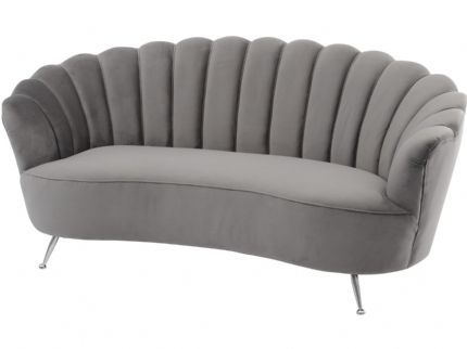 Halcyon Soft Mid Grey Velvet Two Seater Shell Sofa