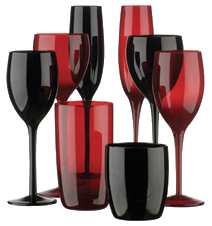 Midnight Black & Red Glassware Collections