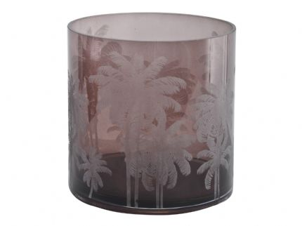 Palm Decorated Brown Glass Hurricane