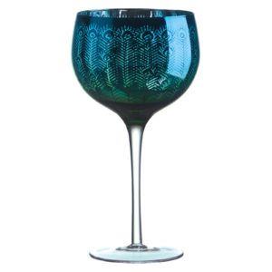 Peacock Goblet Glass