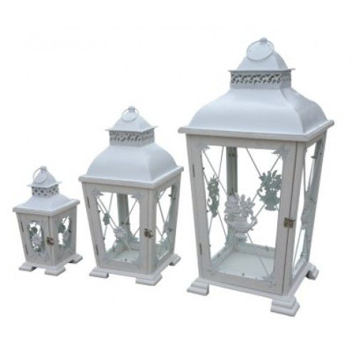 Rustic White Lantern - Set of 3